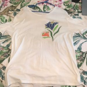 Zara Embroidered Leather Detail Basic White Tee